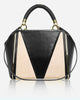 SARA PANEL<br /> (for Margot Day Bag)<br />Deep V-Half Black Italian Leather/Half Linen