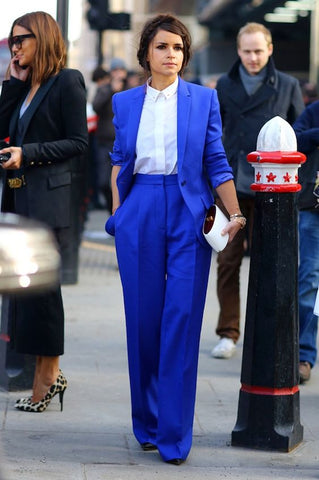 electric blue suit with white shirt