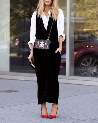 jumpsuit over white shirt