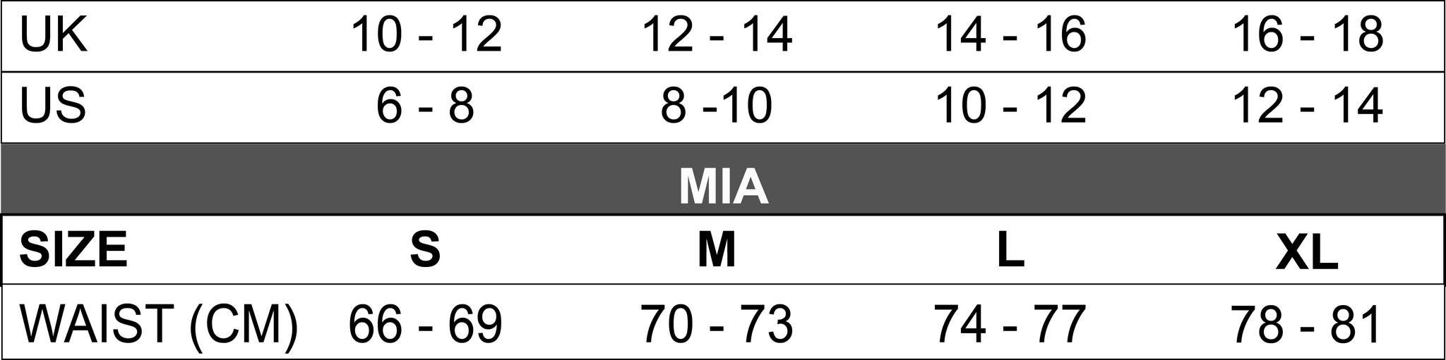 mia sizing guide