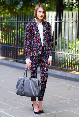 printed suit with white shirt