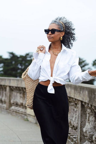 white shirt with front waist knot
