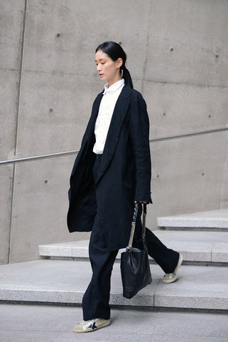 oversized black suit with white shirt