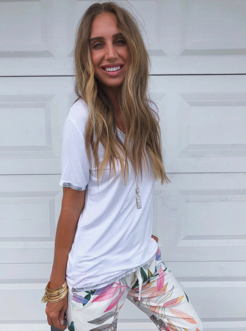 The Metallic White Trim Tee