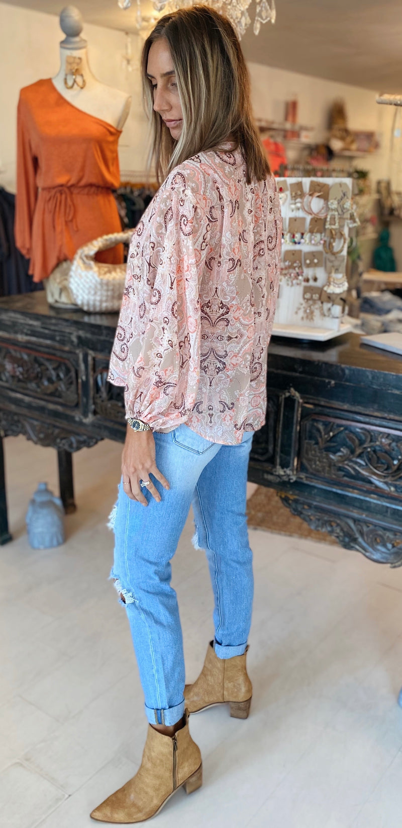 The Sunset Paisley Top