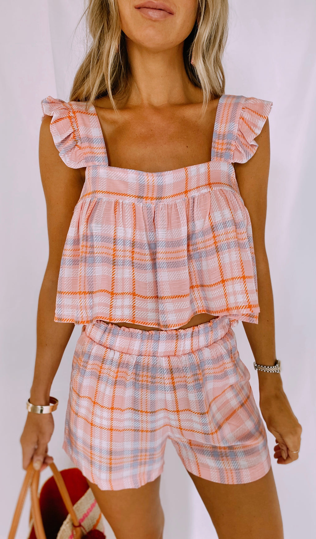 The Clementine Plaid Short Set