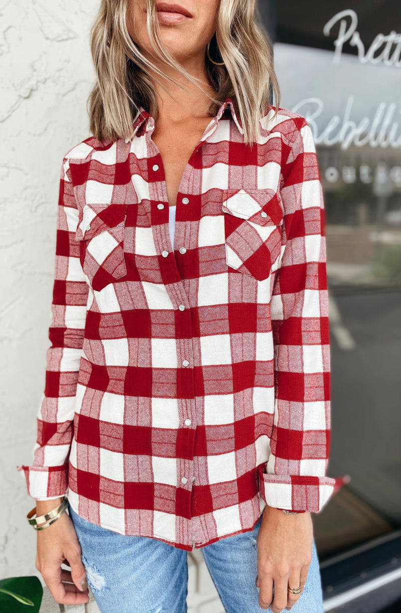The Cranberry Pearl Snap Flannel