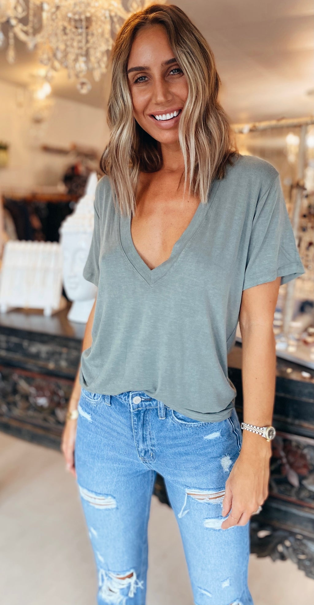 The Washed Sage Deep V Tee