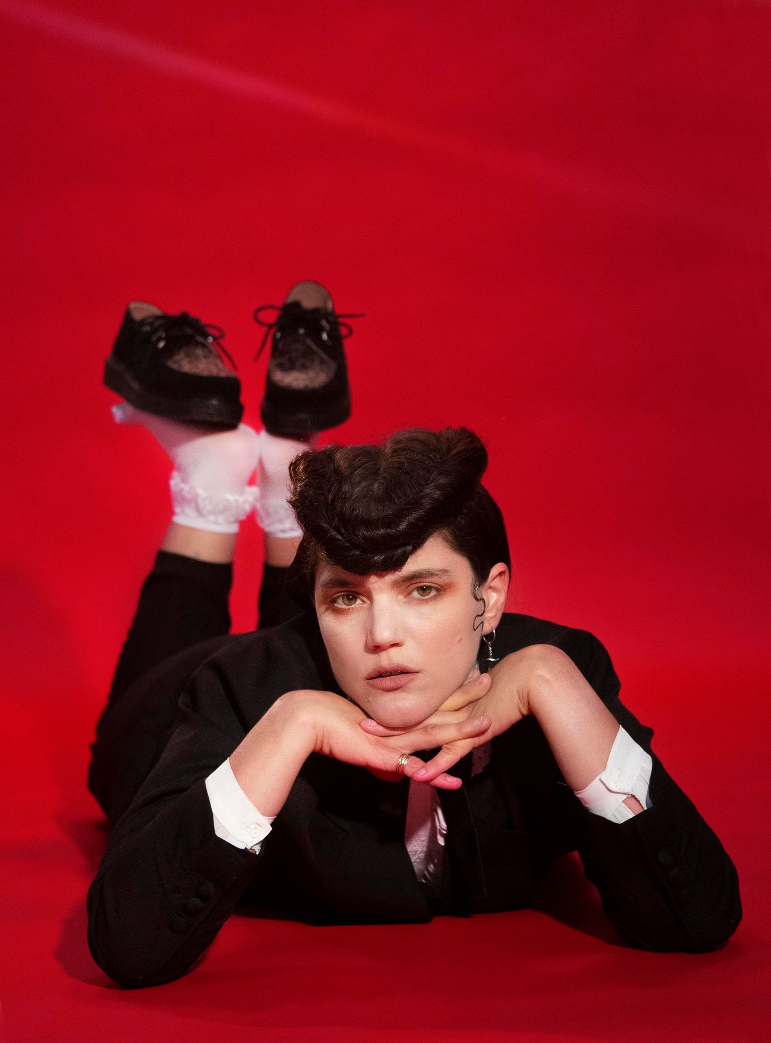 Soko, Teddy Boy. Hair and Makeup by Leticia Llesmin