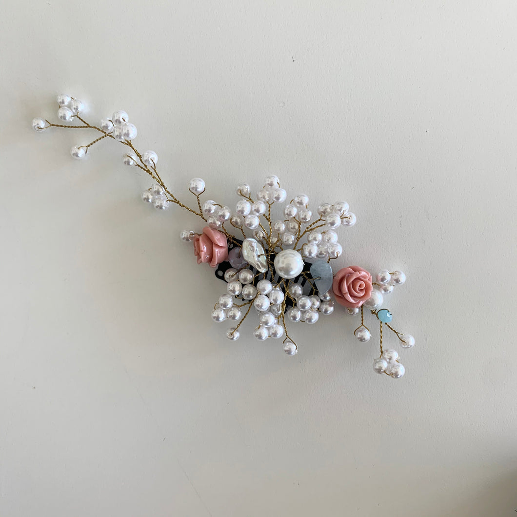 Floral and Pearl Hair Clip