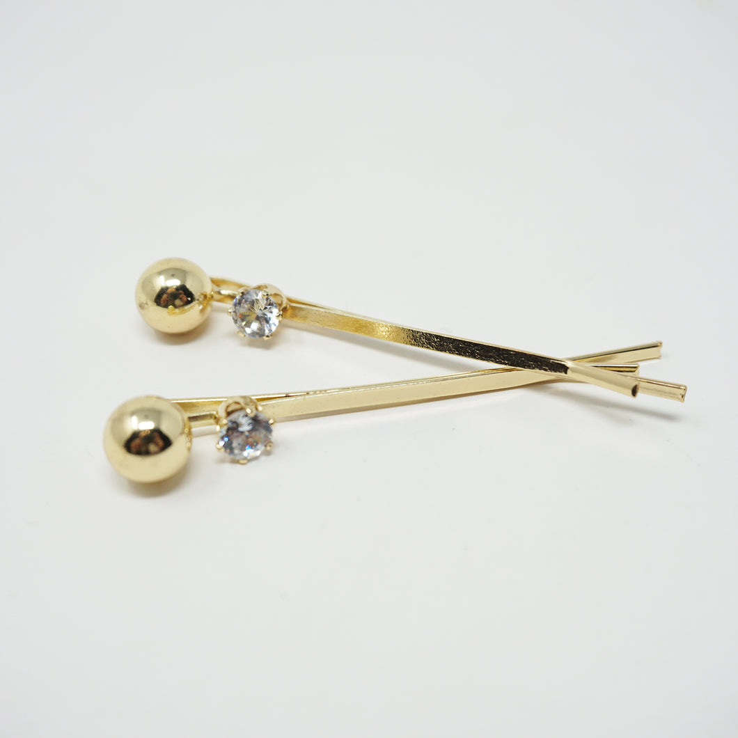 Golden Pearl and Rhinestone Hair Pin Set