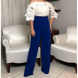 High waist royal blue pants