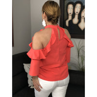 Coral cold shoulder top - Surori Boutique