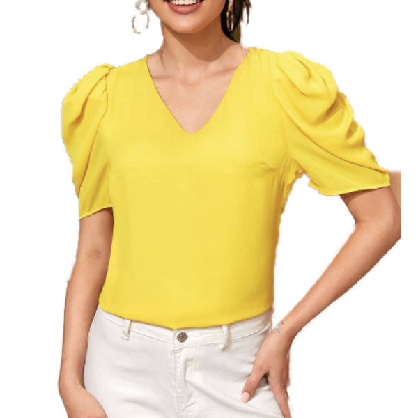 Yellow VNeck blouse with light puff sleeve