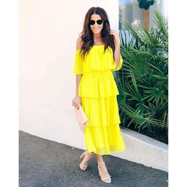 Yellow Pleated  Dress -BLACK FRIDAY DISCOUNT APPLIED