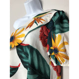 Tropical one shoulder blouse