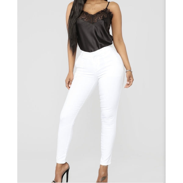 High Rise Skinny Jeans in white