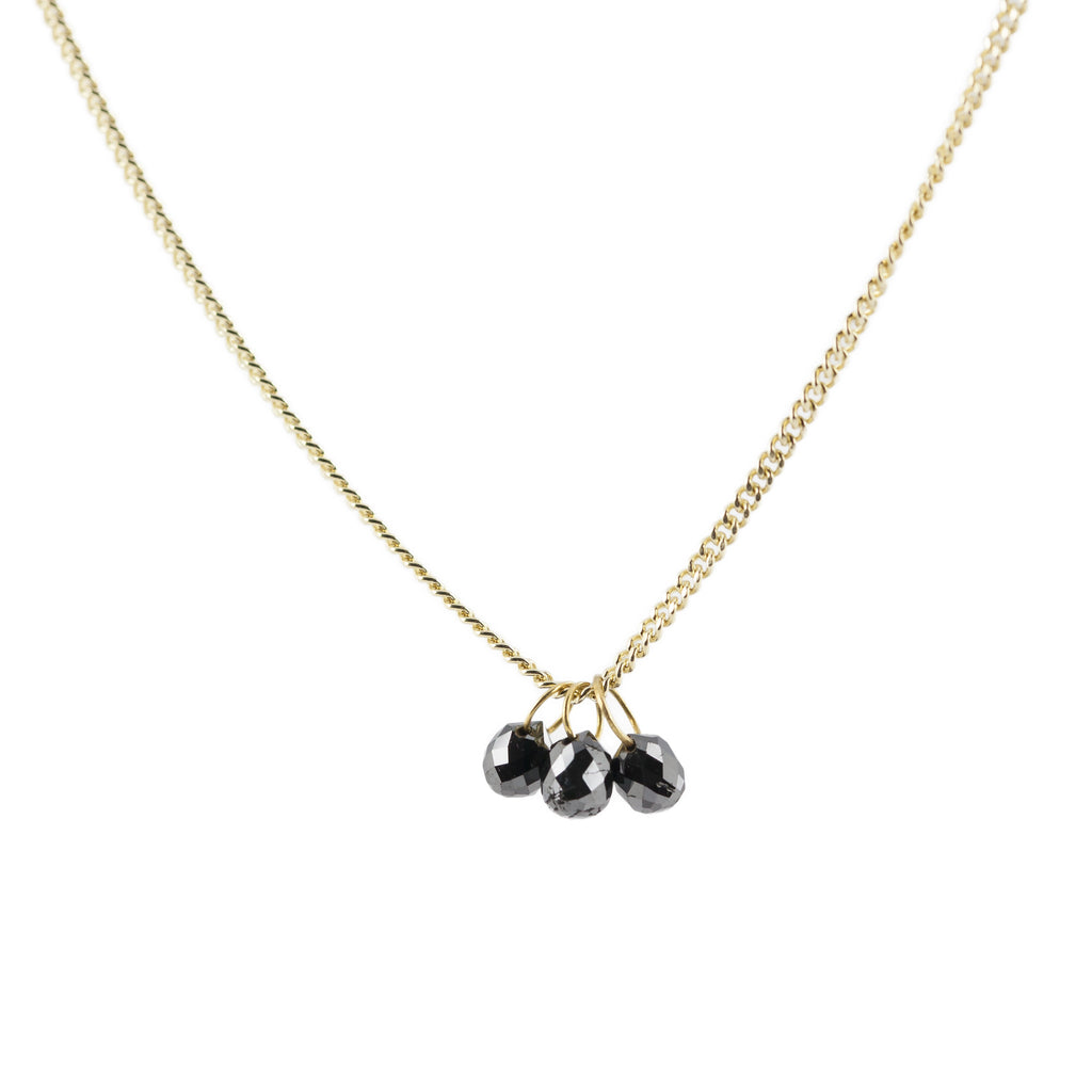 Delicate gold necklace with 3 black diamond briolettes
