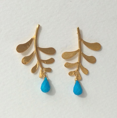 Marni leaf studs with Turquoise drop