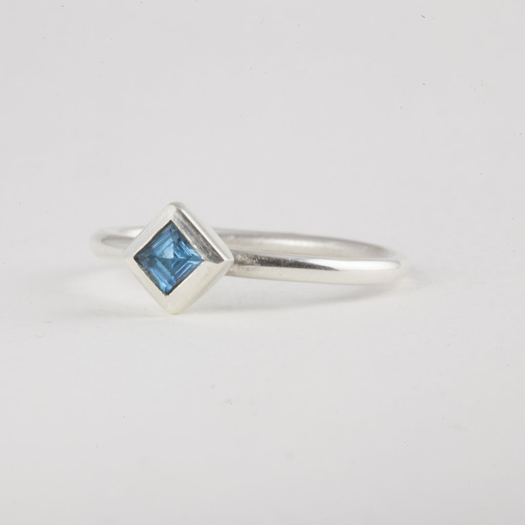 Delicate Silver Princess cut London Blue Topaz Ring