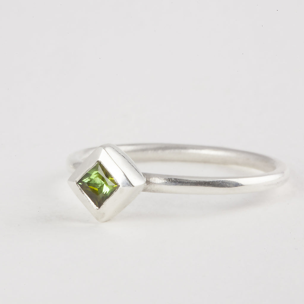 Delicate Silver Princess cut Green Tourmaline Ring