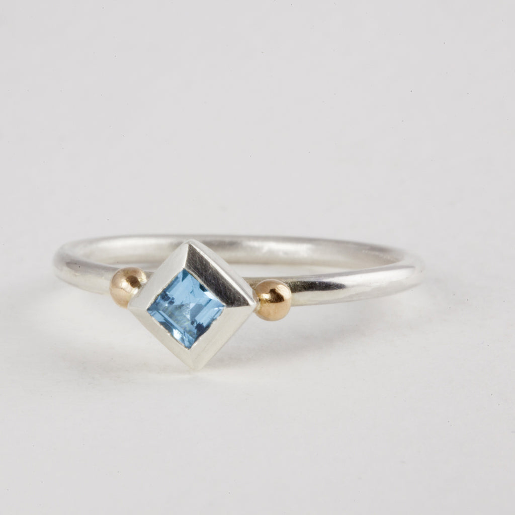 Delicate Silver Princess cut Topaz Ring with 18ct Gold Balls