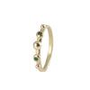 18ct Gold Delicate Ava Granulation Ring with Emeralds.