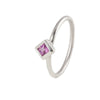 Delicate Silver Princess cut Pink Tourmaline Ring