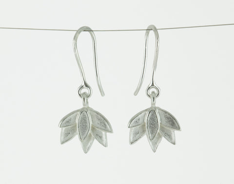 Deepa Flower Hook Earrings in Silver