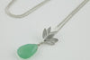 Deepa Flower Pendant Necklace with Gemstone in Silver