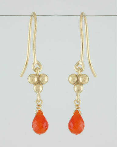 Triple Granulation Gemstone Drop Earrings