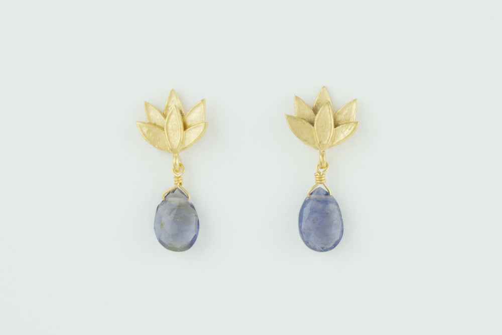 Deepa Flower Stud Earrings with Gemstone drop