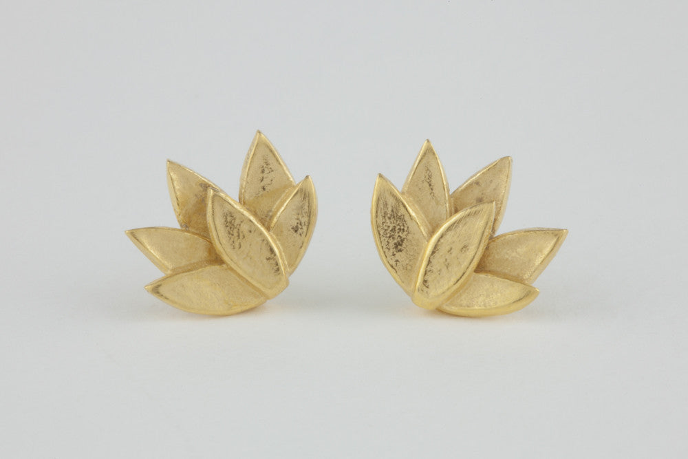 Deepa Flower Studs 18ct gold plate