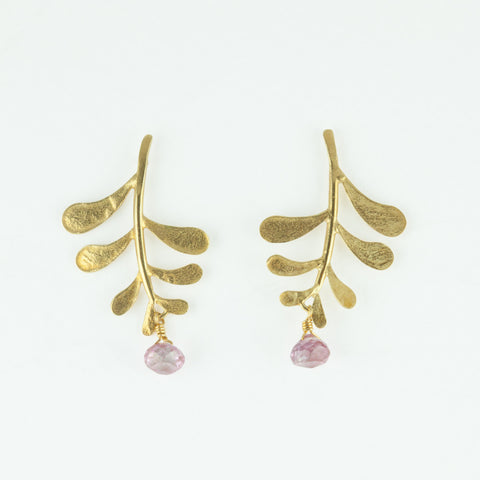 Marni Leaf stud with Pink Topaz drop