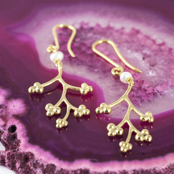 Mai Blossom Earrings with Gemstones