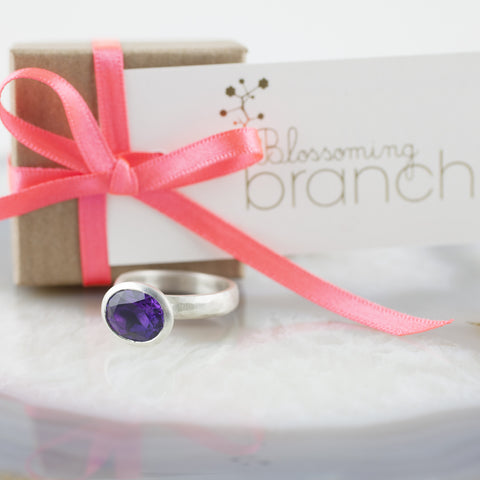 Oval Dark Amethyst Stone Set Ring