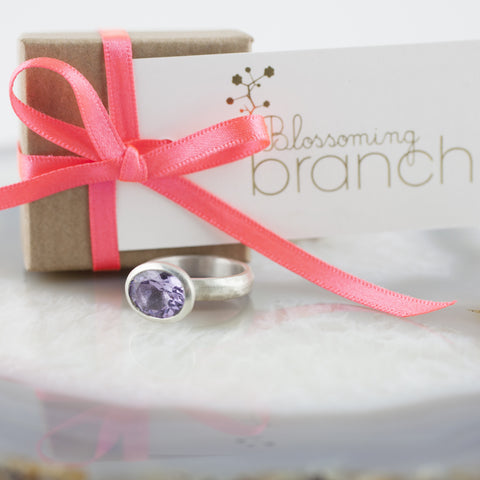 Oval Lavender Amethyst Stone Set Ring
