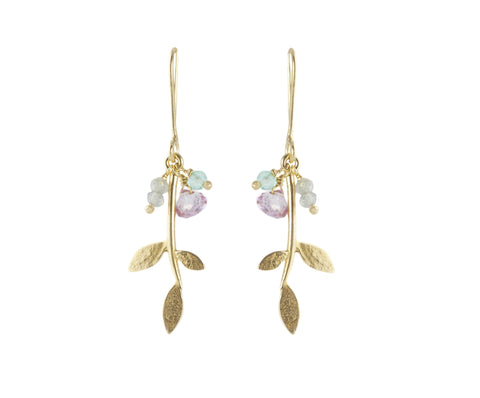 Gold Plated Lola Leaf earrings with gemstone cluster