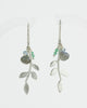 Eloise Leaf Earrings with gemstone cluster