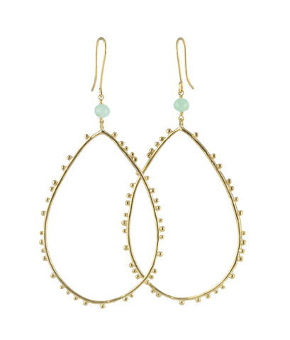 Gold plated Granulation drop earrings with Chrysoprase