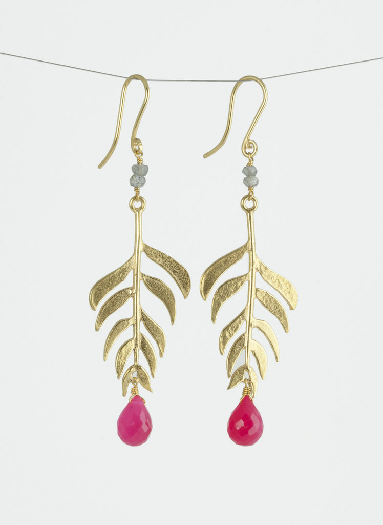 Kiki Long Leaf Gemstone earrings Gold Plated