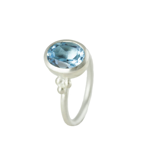 Silver Sky Blue Topaz Granulation ring