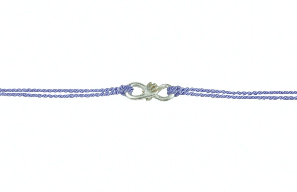 Cuddle charm bracelet on lilac silk thread