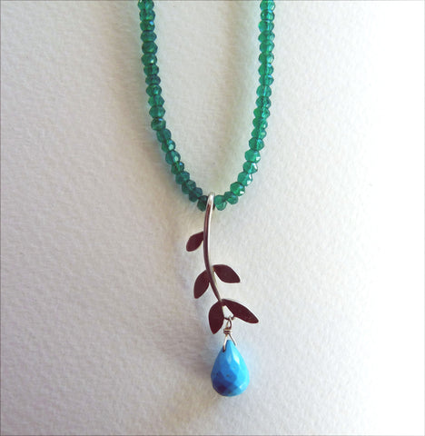 Sally Leaf on Green Onyx with Turquoise drop