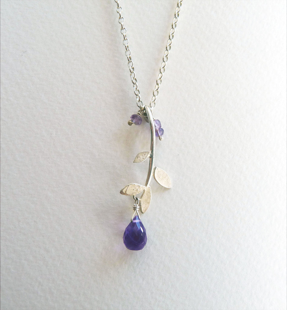 blossoming, branch, sterling, silver, necklace, handmade, jewellery, jewelry, leaf, leaves, amethyst, nature, natural