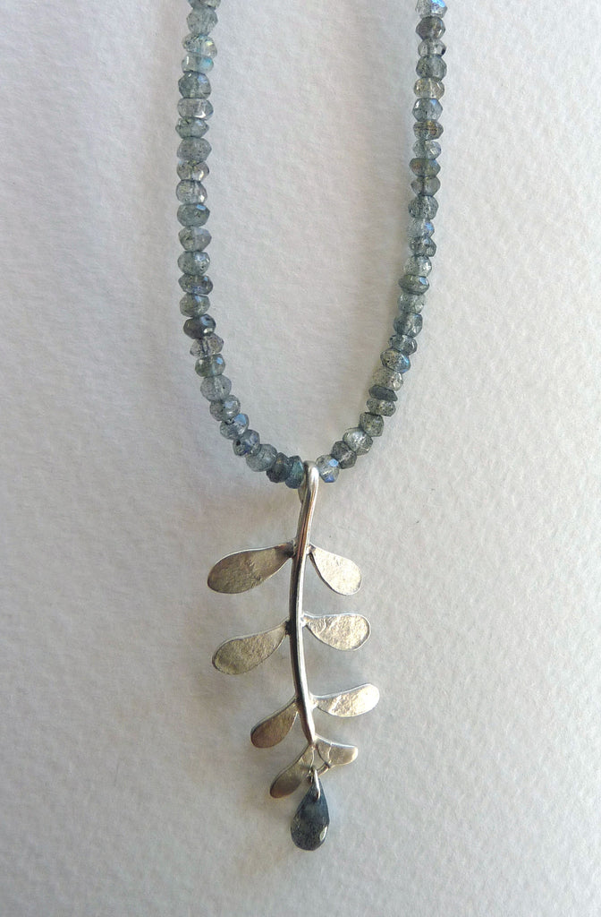blossoming, branch, sterling, silver, necklace, handmade, jewellery, jewelry, leaf, leaves, labradorite