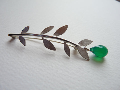 Minty Leaf Brooch With Gemstone