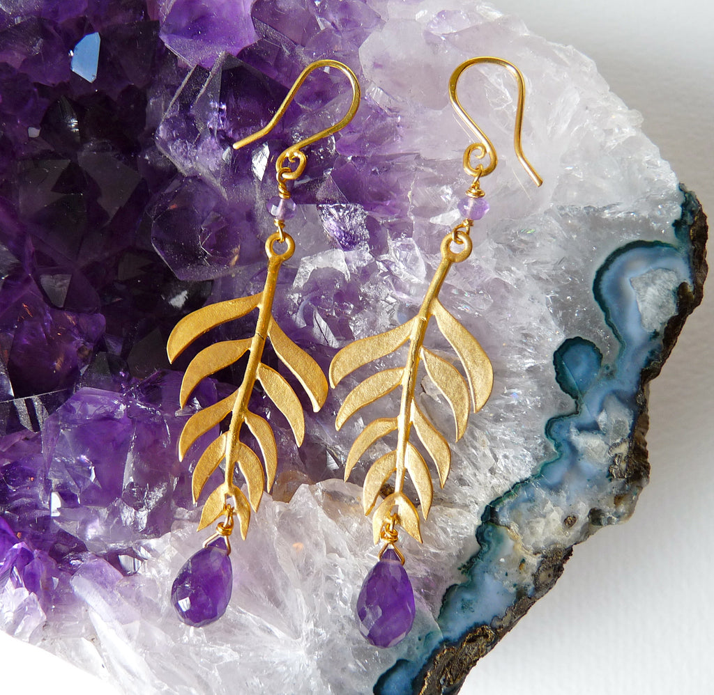 Gold Plated Kiki Leaf Hook Earrings in with Gemstones