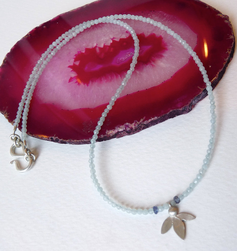 Ami Leaf On Aquamarine Necklace