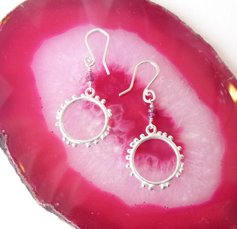 Granulation Silver Medium Hook Earrings With Gemstone